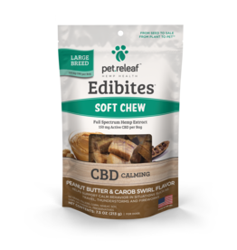 Pet Releaf Pet Releaf Edibites Soft Chews | CBD Calming Peanut Butter & Carob Swirl Large Breed 7.5 oz