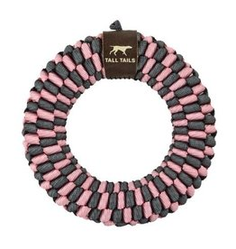 Tall Tails Tall Tails Dog Toy Braided Ring Pink & Charcoal 6 in