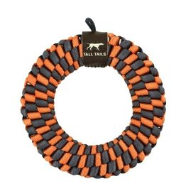 Tall Tails Tall Tails Dog Toy Braided Ring Orange & Charcoal 6 in