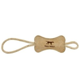 Tall Tails Tall Tails Dog Toy Natural Leather Bone Rope Tug Toy 16 in