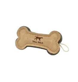 Tall Tails Tall Tails Dog Toy Natural Leather Bone Tug Toy 6 in