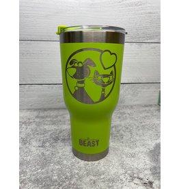 The Pet Beastro Tumbler | Dog Mom Green Heart Logo