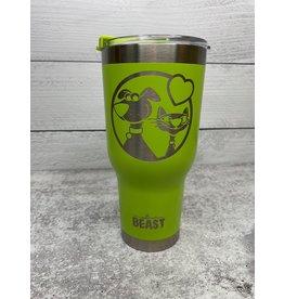 The Pet Beastro Tumbler | Fur Mom Green Heart Logo