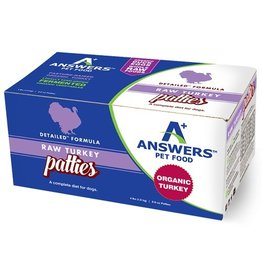 Answer's Pet Food Answers Frozen Dog Food CASE Detailed Turkey 8 oz Patties 4 lbs (*Frozen Products for Local Delivery or In-Store Pickup Only. *)