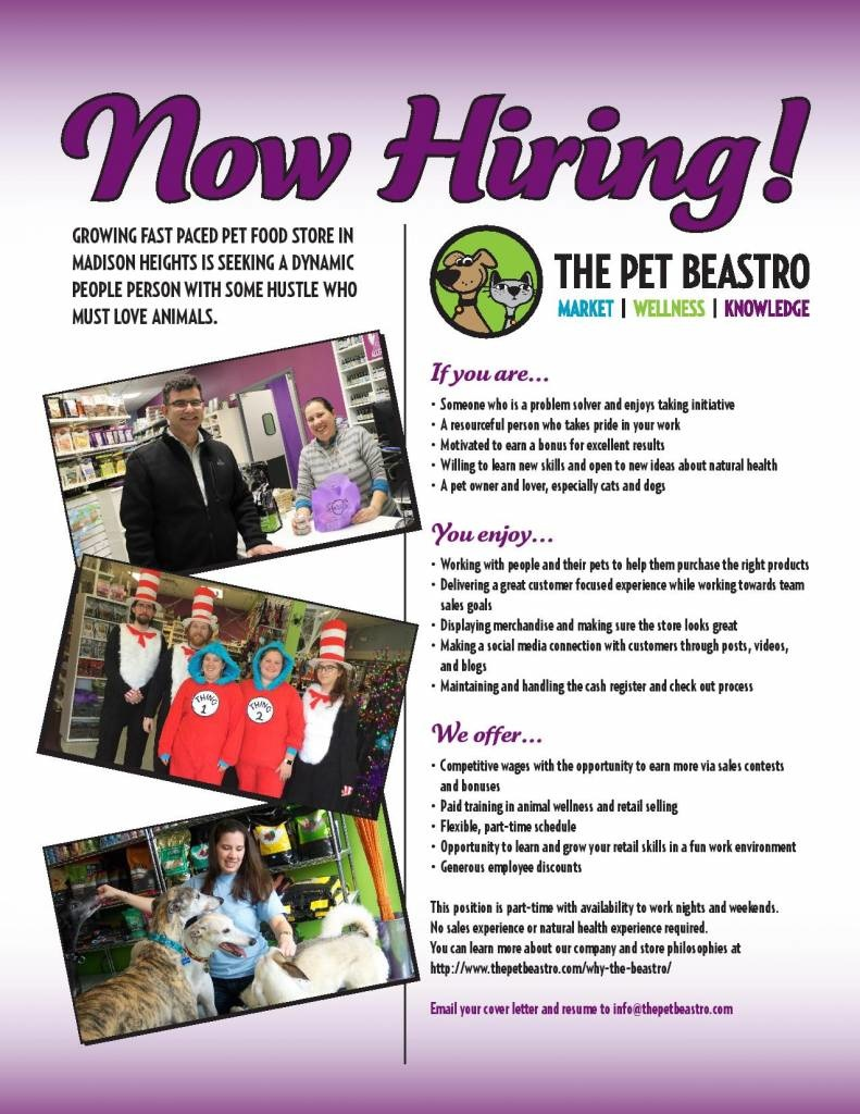 Pet Food Store in Madison Heights, Michigan is hiring retail associates