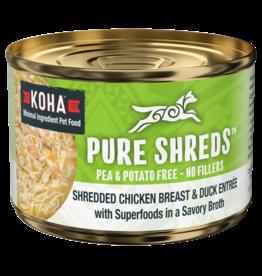Koha Koha Pure Shreds Canned Dog Food | Chicken & Duck 5.5 oz CASE