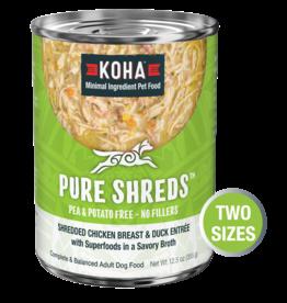 Koha Koha Pure Shreds Canned Dog Food | Chicken & Duck 12.5 oz CASE