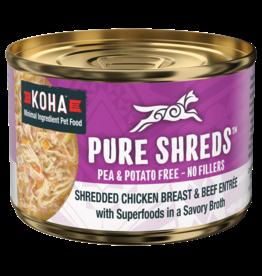 Koha Koha Pure Shreds Canned Dog Food | Chicken & Beef 5.5 oz CASE