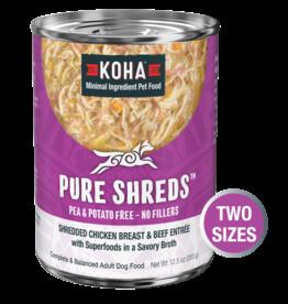 Koha Koha Pure Shreds Canned Dog Food | Chicken & Beef 12.5 oz CASE