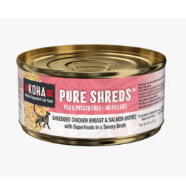 Koha Koha Pure Shreds Canned Cat Food   Chicken & Salmon 5.5 oz CASE