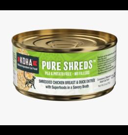 Koha Koha Pure Shreds Canned Cat Food | Chicken & Duck 2.8 oz CASE