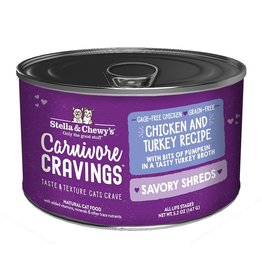 Stella & Chewy's Stella & Chewy's Carnivore Cravings Savory Shreds Canned Cat Food | Chicken & Turkey 5.2 oz CASE