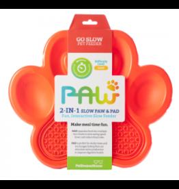 PetDreamHouse Pet Dream House PAW Interactive Feeder | 2 in 1 Slow Feeder & Lick Mat Orange