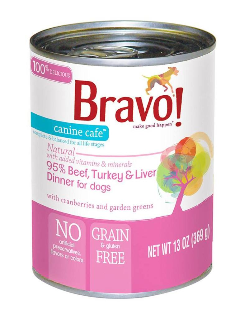 Bravo Bravo Canned Dog Food  Beef, Turkey, Liver 12.5 oz