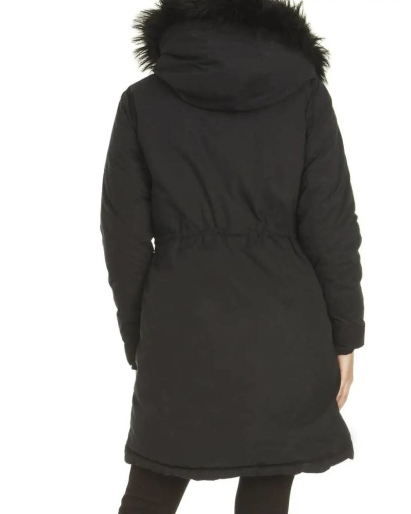 Dex Reversible Coat with Fur Trim