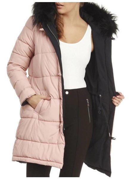 Dex Reversible Coat with Fur Trim