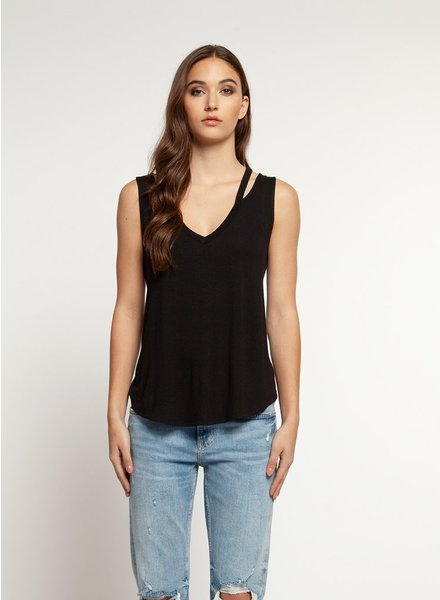 Dex Tank Top with Cut Out V Neck