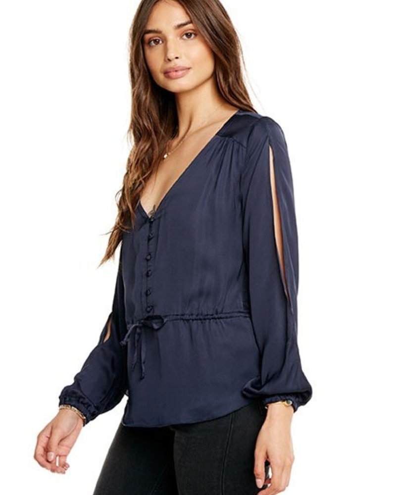 Chaser Slit Sleeve Tie Front Top