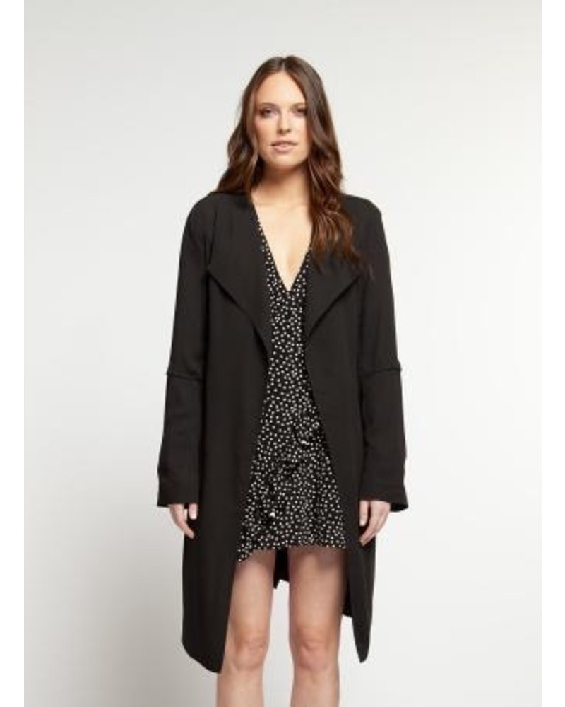 Black Tape Waterfall Front Duster Coat