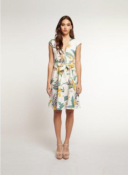 Dex V Neck Buttoned Front Dress
