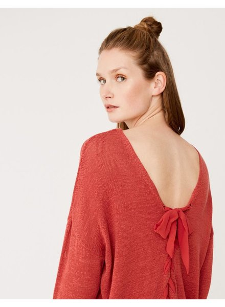 Yerse Ribbon Laced Back Sweater