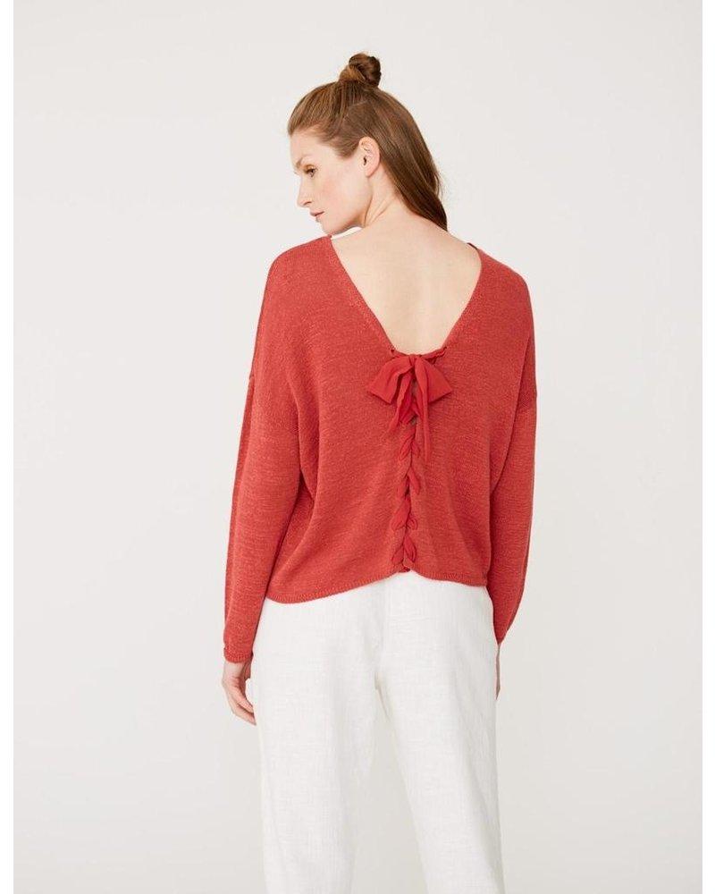 Yerse Ribbon Laced Back Sweater