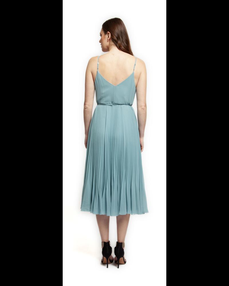 Black Tape Crossover V-Neck Pleated Dress