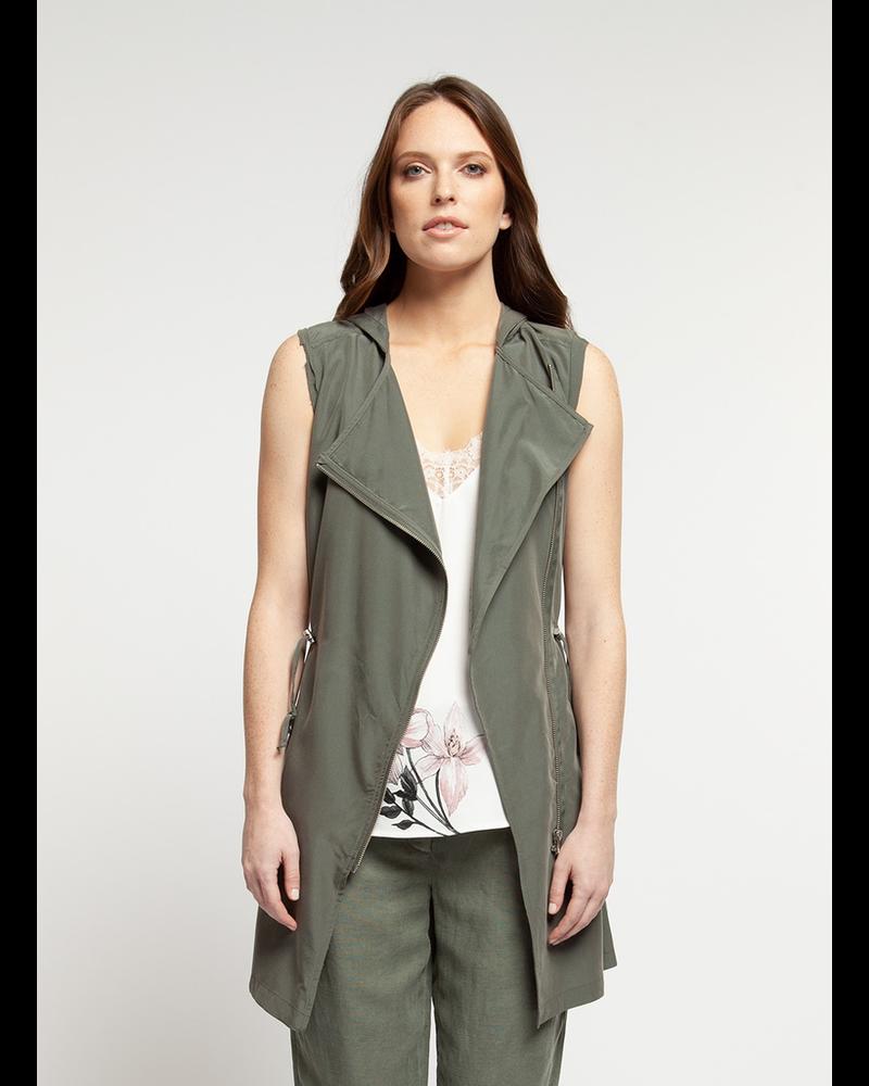 Black Tape Zip Front Hooded Vest
