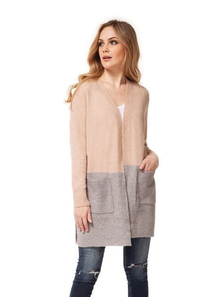 Dex Two Tone Cardi with Pockets