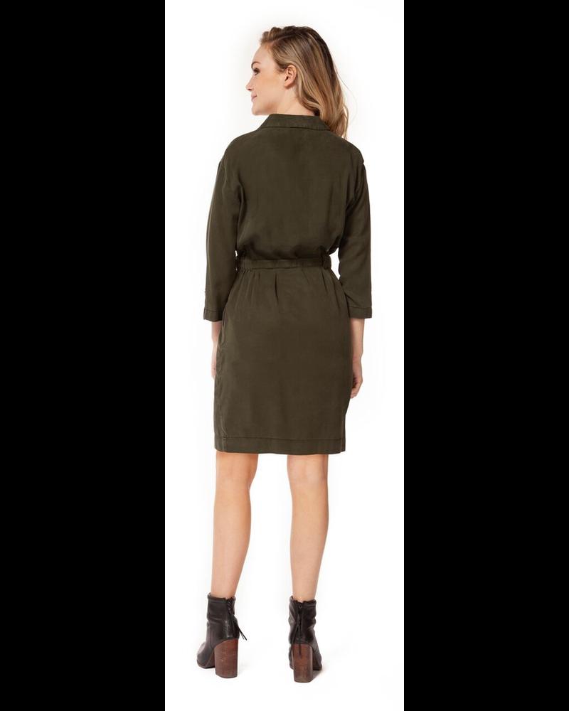 Dex Button Down Tie Front Shirt Dress