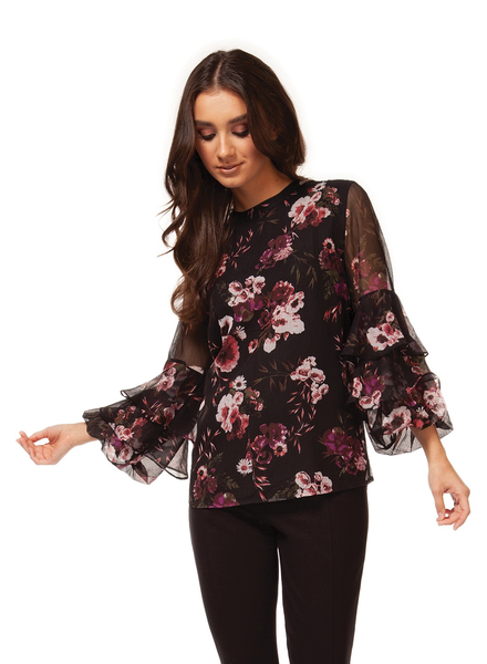 Black Tape Tiered Sleeve Blouse