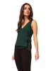 Black Tape Faux Wrap Top with Lace Hem