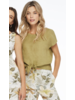 Charlie B Charlie B Linen Tie Front Blouse
