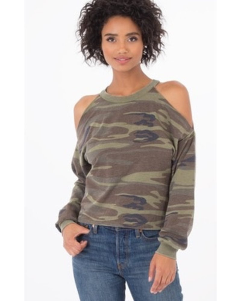 Z Supply Camo Cropped Cold Shoulder Top