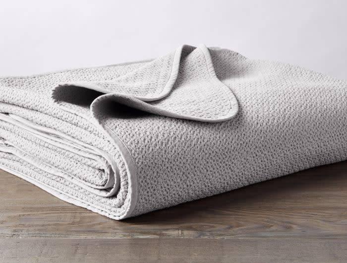 Coyuchi Honeycomb Blanket, Organic Cotton - Mid Gray