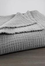 Coyuchi Wave Matelasse Baby Blanket - Gray Chambray