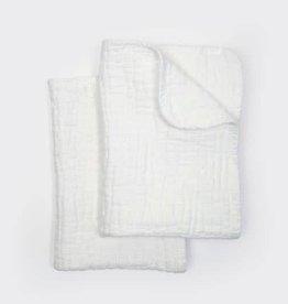 Coyuchi Wave Matelasse Burp Cloths, Set 2 - Alpine White