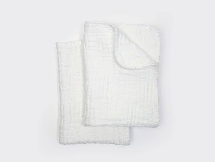 Coyuchi Wave Matelasse Burp Cloths, Set 2 - Alpine White