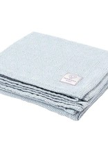 Faribault Woolen Mill Co. Baby Herringbone Cotton Blanket - White/Blue