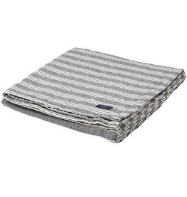 Faribault Woolen Mill Co. Beacon Stripe Cotton Throw - White/Charcoal