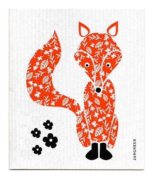 Jangneus Orange Fox Swedish Dishcloth