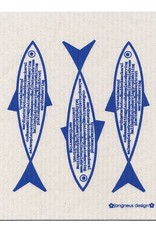 Jangneus Blue Fish Swedish Dishcloth