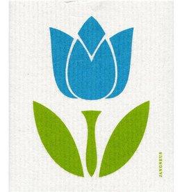 Jangneus Large Turquoise Tulip Swedish Dishcloth