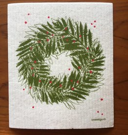 Sweetgum Fern Wreath Swedish Dishcloth