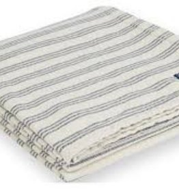 Faribault Woolen Mill Co. Beacon Stripe Cotton Throw - White/Navy