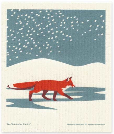 Cose Nuove Fox in Snow Swedish Dishcloth