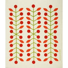 Cose Nuove Red Berry Branch Swedish Dishcloth