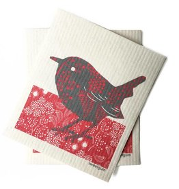 Sweetgum Red Bird Swedish Dishcloth