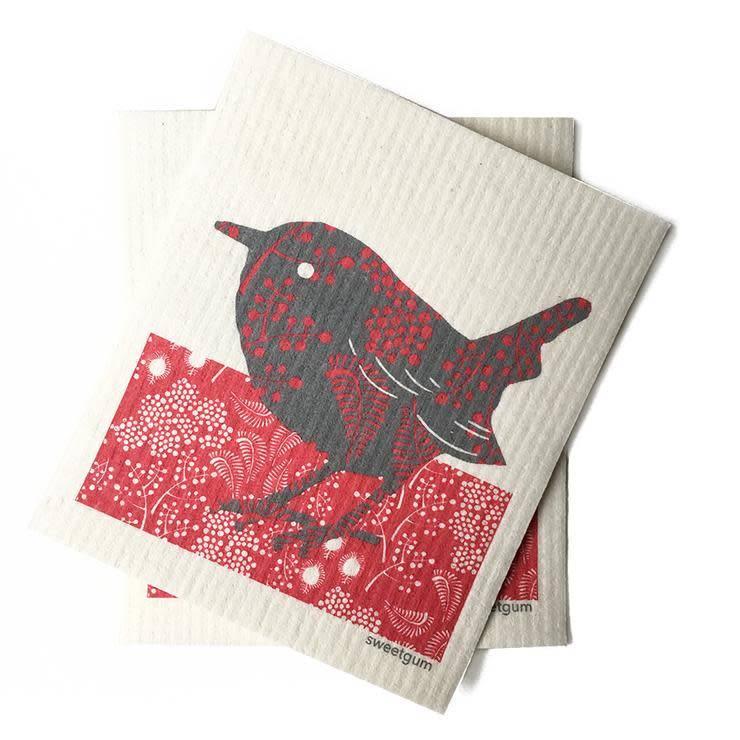 Sweetgum Red Bird Swedish Dishcloth