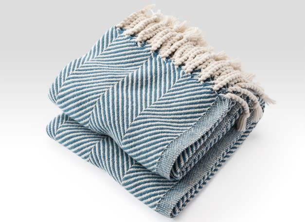 Brahms Mount Monhegan Throw - Natural/Indigo